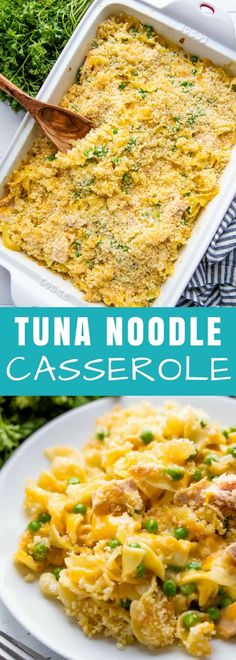 This cheesy Tuna Casserole has a made-from-scratch sauce and a crunchy parmesan topping that puts this classic recipe over the top. Your family will love this version! #tuna #casserole #pasta #easydinner