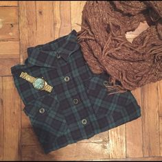 Blue and green flannel Cozy and warm for the winter months. Men's wear inspired. Tops Button Down Shirts