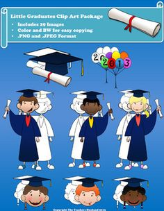 Get ready for Graduation with the Little Graduates Clip Art Package!  -This package features 29 Images in both .png and .jpeg format. -Color and Black & White Images. -Graduation theme with the following: 1. Balloons 2. Balloons with 2013 written on them 3. Diploma 4. Graduation Cap & Diploma 5. Various Boys and Girls heads with Graduation Cap 6. Various Boys and Girls in full Graduation Cap and Gown with Diploma
