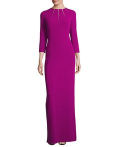 Sunray-Neck+3/4-Sleeve+Gown,+Tourmaline++by+Escada+at+Neiman+Marcus.