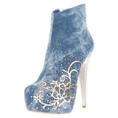 Elegant Blue Denim Flower Print Ankle Boots