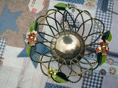Jugendstil Ablage Körbchen  versilbert? mit Blüten verziert Handarbeit