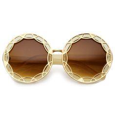 83ecf72fd5734 Art Deco Round Fashion Oversized Layered Designer Sunglasses ...