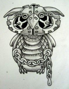 Owl Drawings   Steam punk Owl Bold by *Tattoo-Design on deviantART