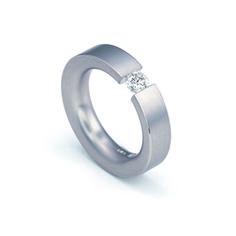 Flat Tension Set Ring    Platinum tension set engagement ring