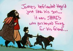 """""""James befriended Hagrid just like his son… it was JAMES who purchased Fang for his friend…"""""""