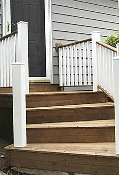 Wooden Front Steps | The angle of the winder steps is unusual, and required custom design ...
