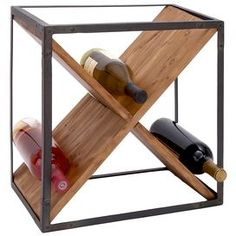 Bring heirloom-worthy charm to your home with this chic accent, artfully crafted for lasting appeal.    Product: Wine rack    Construction Material: Iron and wood  Color: Black and brown   Dimensions: 16 H x 15 W x 11 D     Cleaning and Care: Wipe clean with damp cloth