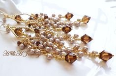 Shades of Brown and Almond Long Swarovski by hhjewelrydesigns