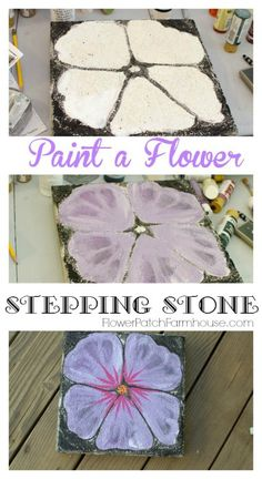 Turn a plain concrete paver into a gorgeous piece of garden art. Paint a flower stepping stone. Switch up colors or shapes of flowers for an entire flower strewn pathway! Painted Stepping Stones, Painted Pavers, Garden Stepping Stones, Painted Fences, Painted Bricks, Painting Concrete, Concrete Art, Stone Painting, Rock Painting