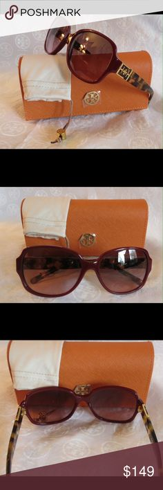 NWT Tory Burch TY7073 Sunnies Tortoise Burgundy Tortoise & Burgundy Time for some new fabulous authentic designer shades!! Frame:  Bordeaux/Spotty Tortoise   Lens: Rose Gradient 133214..    These are PERFECT Flawless NEVER even worn or tried on. It's just reflections that might make they look like there are issues, they are again Perfect!  Comes with original bag with tags from Luxottica, case and dust bag. All of my items are Guaranteed 100% Genuine I do not sell FAKES of any kind No Trades…