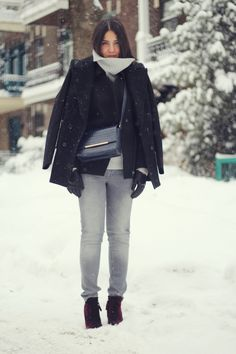 Elif of The Fashion Medley wearing REISS Talais peacoat, Lyndon jacket,  Liza bag &
