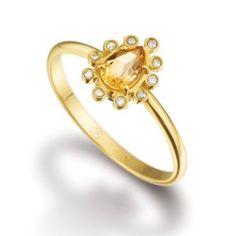 Anel Ouro Amarelo Citrino e Diamantes Gold Verão