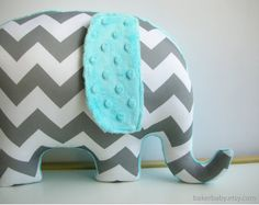 Turquoise Nursery Decor Elephant Pillow ORGANIC by bakerbaby