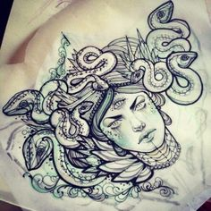 Medusa chest piece with a snake head in the middle Medusa Tattoo, Sternum Tattoo, Piercing Tattoo, Piercings, Medusa Drawing, Neue Tattoos, Body Art Tattoos, Cool Tattoos, 3d Tattoos