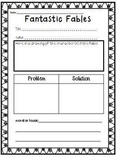 A fun worksheet for practicing fables!