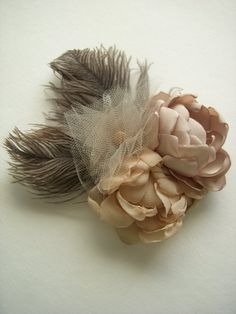 Champagne Flowers and Ostrich Feather by TheVintageCabbgeRose, on Etsy