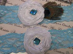 Vintage Aqua Blue Lace and White Rose Garter Set