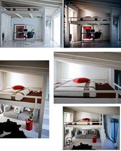 "this loft bed created by Cinius. Designed so that it can be automatically raised to the ceiling during the day and lowered down again at night.    Think of the possibilities - create a parents retreat in a standard size master bedroom; turn the ""spare room"" into a home office; give your adult children who refuse to leave home some private living space ...."