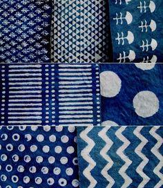 Beautiful smaples of indigo blue textiles mainly paste resist designs. Motifs Textiles, Textile Patterns, Textile Design, Fabric Design, Print Patterns, Floral Patterns, Blue Patterns, Boho Pattern, Pattern Texture