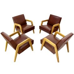 Set of 4 Mid Century Modern Lounge Chairs by Thonet | 1stdibs.com