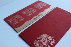 These lovely handmade Diwali Cards are super cute - Embossed gold elephant pattern on red paper with sparkling diamanté gems. Finished with a gold swirl at the bottom. An elegant way of expressing yourself to your loved ones during Diwali time. Included with deep red matching envelope with embossed gold elephant pattern