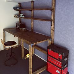 Yasuさんの、男前,一人暮らし,DIY,BRIWAXジャコビアン,BRIWAX,足場板,ディアウォール,2×4材,机,のお部屋写真