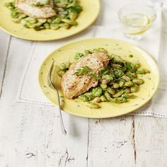 A quick but satisfying meal of butter-browned chicken breasts and beans, with freshly-made pesto.