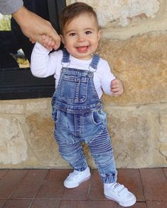 Variety of toddler overalls and pants intended for sturdiness and comfort. Start searching now! Baby Boy Overalls, Baby Boy Swag, Cute Baby Boy Outfits, Little Boy Outfits, Toddler Girl Outfits, Toddler Boys, Kids Outfits, Overalls Outfit, Mother Son Matching Outfits