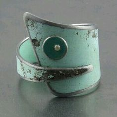 Silver & Green oxidised ring