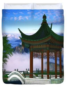 Digital Illustrations Duvet Cover featuring the digital art Pagoda Fantasy Scene…