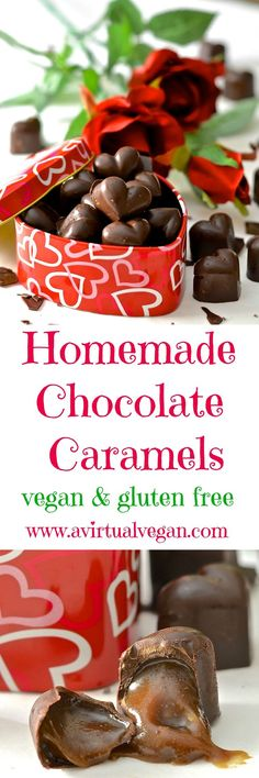 Rich & gooey homemade Vegan (and refined sugar-free) Chocolate Caramels. So decadent & delicious and surprisingly easy to make. Perfect as an indulgent treat or as a gift for someone special. Chocolate Caramels, Homemade Chocolate, Vegan Chocolate, Vegan Caramel, Chocolate Box, Delicious Chocolate, Chocolate Desserts, Vegan Gifts, Vegan Treats