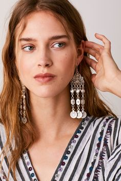 Cascading Coin Drop Earrings | Statement drop earring featuring coin charms.    * Made from pewter metal   * Hook posts