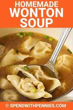 Wonton soup is so easy to make at home. Homemade pork-filled wontons are cooked in a ginger, soy, sesame, and garlic flavored broth. Be sure to make extra wontons to always have some on hand in the fr Wonton Recipes, Easy Soup Recipes, Cooking Recipes, Wonton Soup Broth, War Wonton Soup Recipe, Pot Sticker Soup Recipe, Dumplings For Soup, Chinese Dumpling Soup, Soup Appetizers