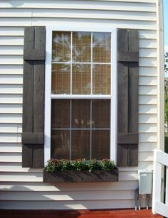 10 Best DIY Window Boxes Wonderful DIY Window Box AE comment: love the weathered board style DIY shutters.Wonderful DIY Window Box AE comment: love the weathered board style DIY shutters. Window Shutters Exterior, House Shutters, Wood Shutters, Exterior Paint, Exterior Design, Black Shutters, Modern Shutters, Outdoor Shutters, Modern Exterior