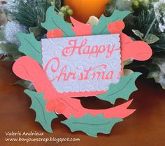 #Christmas wreath card With #DCWV Winter and Christmas stack