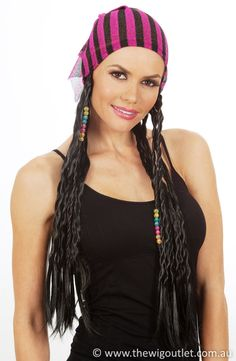 Gypsy / Pirate Beaded Plaits with Bandana Costume Wig - by Allaura (D) Costume Wigs, Costumes, Wigs Online, Plaits, Bandana, Pirates, Gypsy, Cap