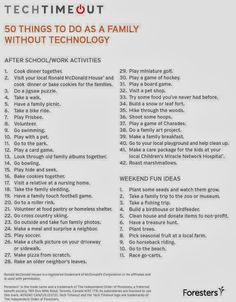 Technology free family activities