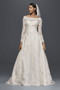 Long Sleeve Off the Shoulder All Over Lace A-line Oleg Cassini CWG765 Bridal Gown
