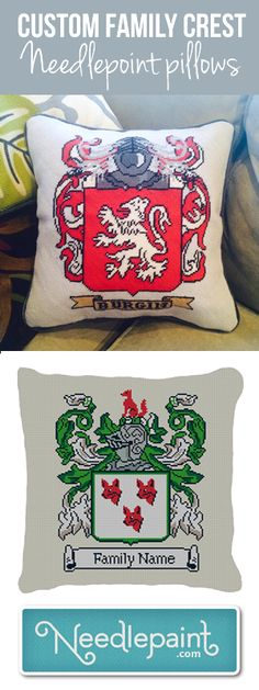 Let us design a Custom #Needlepoint #FamilyCrest Pillow for you!  Available as fully stitched pillows or DIY needlepoint kits they are custom designed for you.   http://www.needlepaint.com/custom  www.NeedlePaint.com