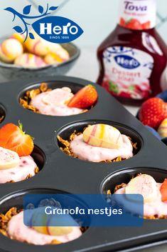 Maak van pasen een feestje met Hero Tova!  Je vindt feestelijke recepten voor het paasontbijt of de paasbrunch op de Hero Fruit Studio!  #Herofruit #Herofruitstudio #Tova #dessertsaus #Pasen #paasontbijt #paasbrunch #recept #bakken Bento Box, Granola, Quiche, Bakery, Deserts, Paleo, Cooking, Healthy, Breakfast