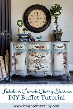 Full Chalk Paint Color Blending Tutorial with Brandy - Tina Koenig - Fabulous French Cherry Blossom Buffet Makeover. Full Chalk Paint Color Blending Tutorial with Brandy - Decoupage Furniture, Chalk Paint Furniture, Hand Painted Furniture, Refurbished Furniture, Home Decor Furniture, Shabby Chic Furniture, Furniture Makeover, Furniture Design, Dresser Furniture
