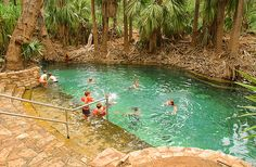 Plunge Pools &  Hot Springs, NT (Australia). 'Step into a glossy tourist brochure  and take the plunge into an Eden-like  rock pool complete with sparkling waterfall  and surrounding foliage. Litchfield  National Park is renowned for its shimmering  cascades. Katherine, Berry Springs, Mataranka and Bitter  Springs are just some of the easily  accessible hot springs where rock-heated  spring water bubbles to the surface.' http://www.lonelyplanet.com/australia/northern-territory/mataranka
