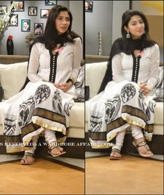 Pakistani Actress and Model Mahira Khan in White casual semi formal