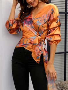 Floral Print Knot Waist Wrapped Blouse dresses and accessories all over the world at competitive prices, and with a high level of customer care. Stylish Tops, Wrap Blouse, Mode Inspiration, Pattern Fashion, Casual Chic, African Fashion, Blouse Designs, Blouses For Women, Floral Prints