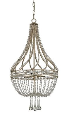 Dazzling strands of beaded crystal line a wrought iron frame, swirling about the column of the lavish Ingénue Chandelier. Below, shapely crystal drops and swags