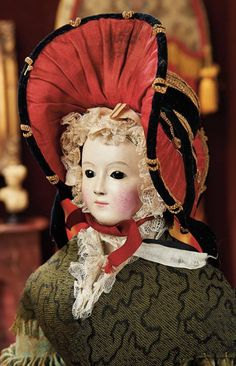 """Large French Papier-Mache Lady with Flirty Eyes 23"""" (58 cm.) Solid domed papier-mache shoulder head of lady with oval face and elongated throat, black painted pate, black glass """"flirty"""" eyes, French, circa 1840."""