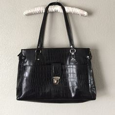 """Large Tote Liz Claiborne Liz Claiborne bag. Three big zip compartments. Large enough to hold my mac book. 17"""" long x 11"""" tall x 4"""" wide. Perfect for a work tote for professionals or students or travel bag. Great condition. Silver hardware and black faux  crock outter. No trades. Offers are welcome. Liz Claiborne Bags Totes"""