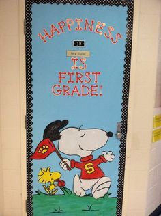 snoopy door displays back to school ideas | Snoopy Door Decoration Idea - MyClassroomIdeas.com