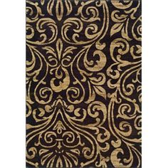 "Emerson Emily Area Rug - Beige/Black (5x7'6"") love chocolate brown tan taupe creamy creams beige victorian antique renaissance damask baroque brocade scrolls scrollwork beautiful love"